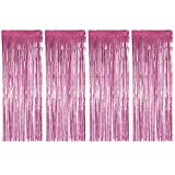 BTSD-home Pink Foil Fringe Curtain, Metallic Photo Booth Tinsel Backdrop Door Curtains for Wedding Birthday and Special Festival Decoration(4 Pack, 12ft x 8 ft)