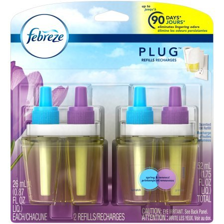 Febreze Air Freshener, Noticeables zAJYf Air Freshener, Spring & Renewal Dual Refill Air Freshener, 2 Count (4 Pack) by Febreze