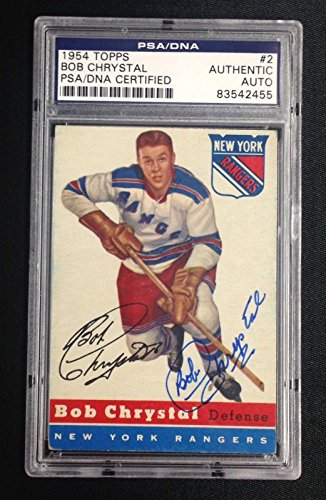 BOB CHRYSTAL SIGNED TOPPS 1954 HOCKEY ROOKIE CARD Auto RC RANGERS - PSA/DNA Certified