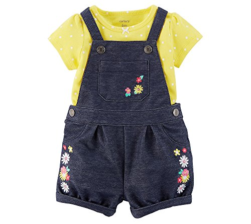Carter's Baby Girls' 2 Piece Bodysuit and Embroidered Shortalls Set 3 Months