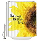 YEHO Art Gallery Waterproof Bathroom Shower Curtian Hooks,Quote Live Simple Laugh Often Love Deely Mildew Resistant Extra Long Curtains Home Decor,66 x 72 Inch