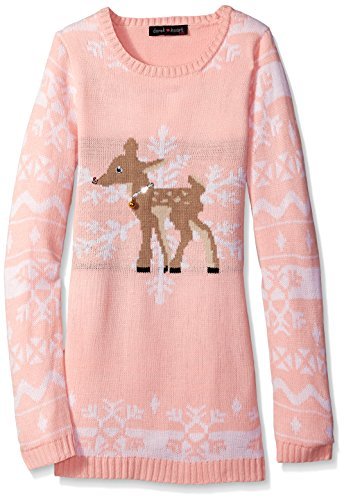Girls' Reindeer Snowflake Jacquard L/s Tunic Holiday