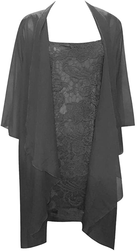 LATINDAY ◆ Womens Two Piece Other of The Bride Lace Long Jacket Dress