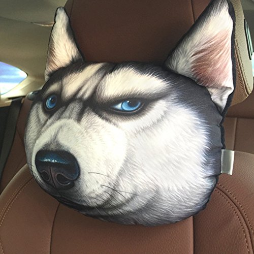 NEW Funny 3D Dog Face Cushion Sofa Plush Stuffed Pillow Home Car Seat Decor(angry (3 New Cute Beads)