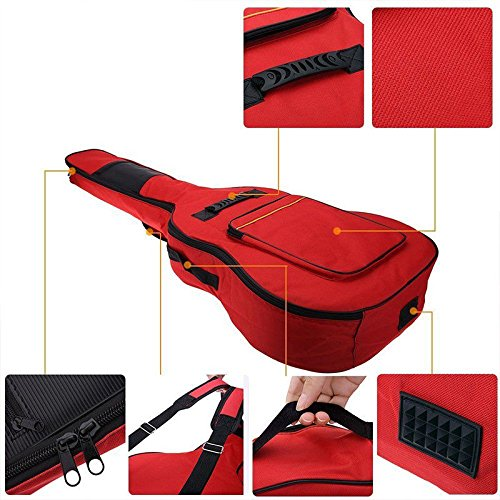 FidgetGear 41'' Oxford Padded Electric Guitar Bass Gig Bag Case Double Straps Backpack