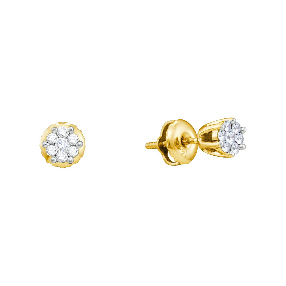 14k Yellow Gold Round Diamond Small Flower Cluster Screwback Earrings (1/6 Cttw)