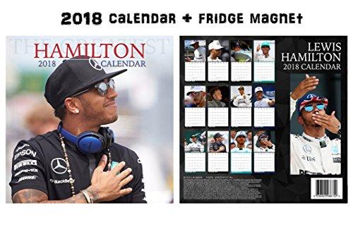 LEWIS HAMILTON SQUARE WALL CALENDAR 2018 + LEWIS HAMILTON FRIDGE MAGNET