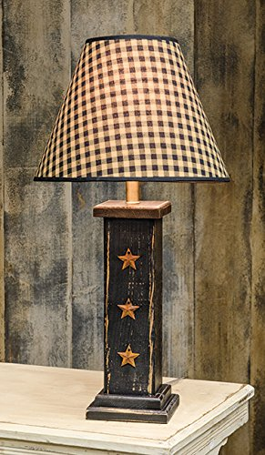GNR Trades Black Column Lamp with 3 Rusty Stars Primitive, Rustic, Distressed Finish