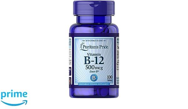 Vitamina B-12 500 mcg 100 tabletas. B12. Puritans Pride 1 und.: Amazon.es: Salud y cuidado personal