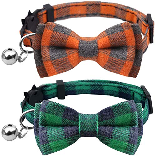 KUDES 2 Pack/Set Cat Collar Breakaway with Cute Bow Tie and Bell for Kitty and Some Puppies, Adjustable from 7.8-10.5 Inch (Green+Orange, Plaid)