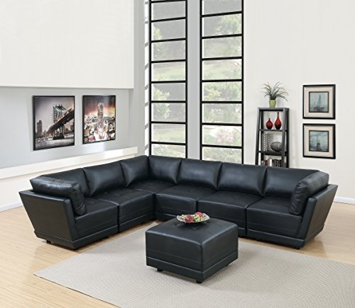 Modern Black Bonded Leather Sectional Sofa Tufted Comfort Couch Modular Sectionals 7pc Set. 3 Corner Sofa, 3 Armless Chairs & An Ottoman