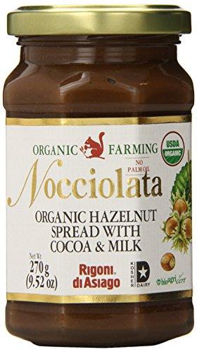 (Rigoni Di Asiago Nocciolata Organic Hazelnut Spread, Cocoa and Milk, 9.52 Ounce Jar (Pack of)