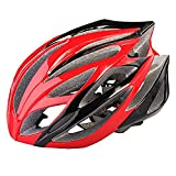 Prosshop Bicycle Helmet for Adult Revel Full Coverage Shell Snap Fit Visor Helmet With 21-Hole Design EPS+PC Integrally Molding Technology (Black+Red)