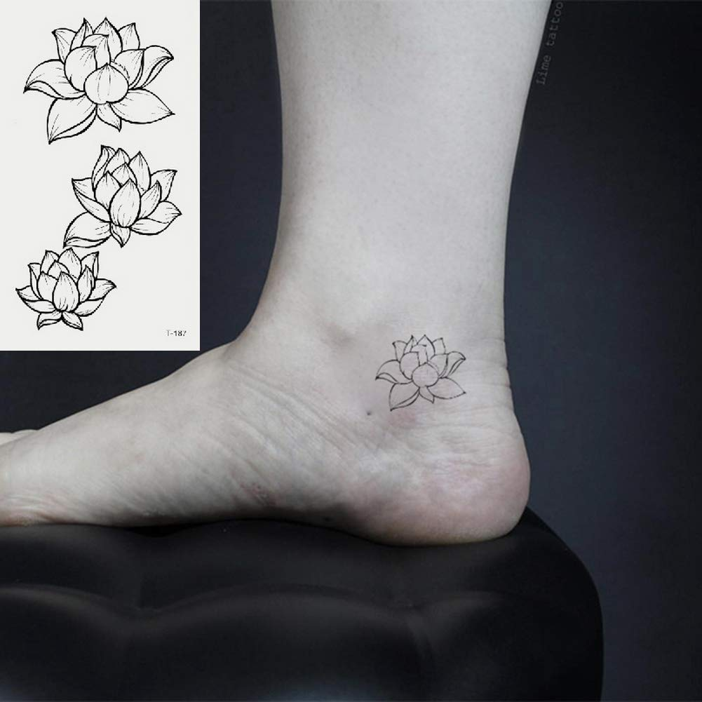 Oottati 2 Hojas Pequeño Lindo Tatuaje Temporal Tattoo Loto: Amazon ...