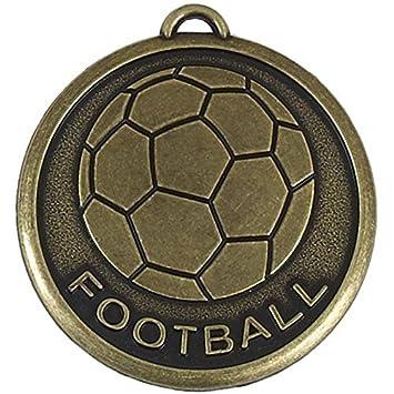 Medallas en un balón de fútbol, 50 unidades con, en dorado antiguo ...