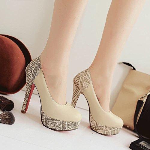 Escarpins Plateformes Hauts Talons MissSaSa à Beige Chaussures Femmes Enfiler Fermetures qx5Zxp1w