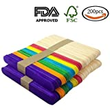 200pcs 4.5 inch Colored Natural Wood Craft Sticks Popsicle Sticks Ice Cream Sticks For DIY Crafts Creative Designs(100pcs natural wood color,100Pcs multicolor)