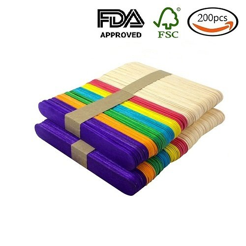 200pcs 4.5 inch Colored Natural Wood Craft Sticks Popsicle Sticks Ice Cream Sticks for DIY Crafts Creative Designs(100pcs Natural Wood Color,100Pcs Multicolor) (Colored Sticks)