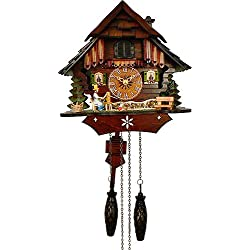 Quartz Cuckoo Clock Little black forest house, with music