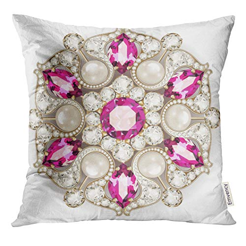 - UPOOS Throw Pillow Cover Gemstone Mandala Brooch Jewelry Design Geometric Vintage Ornamental Applique Bead Decorative Pillow Case Home Decor Square 16x16 Inches Pillowcase