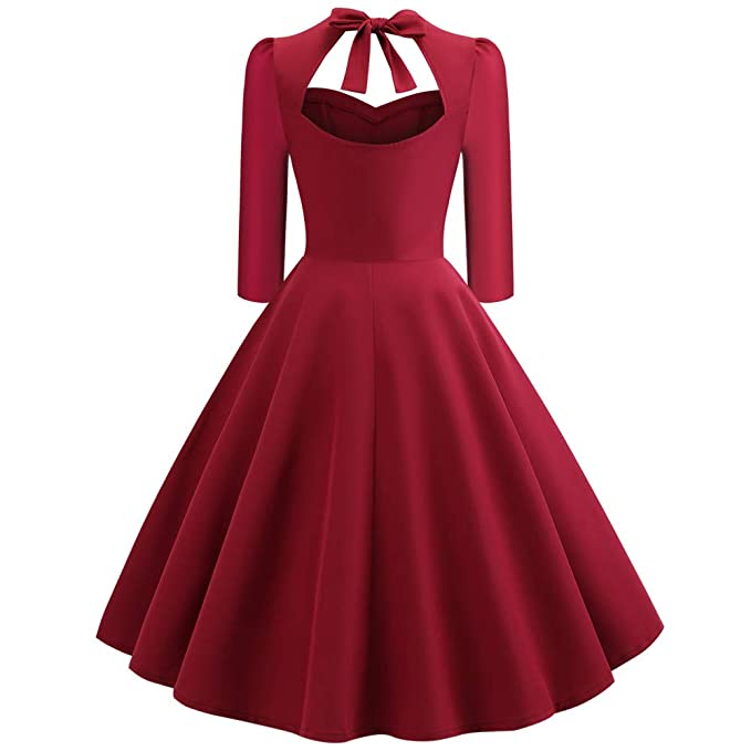 HTDBKDBK Stylish Women and Elegant Retro V-Neck Hollow-Out Bow Draped Holiday Vintage Dress Back Bow in at Amazon Womens Clothing store:
