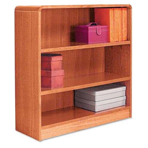 Alera Radius Corner Bookcase, Finished Back, Wood Veneer, 3-Shelf, 36 W by 12 D by 36 H, Medium Oak ()
