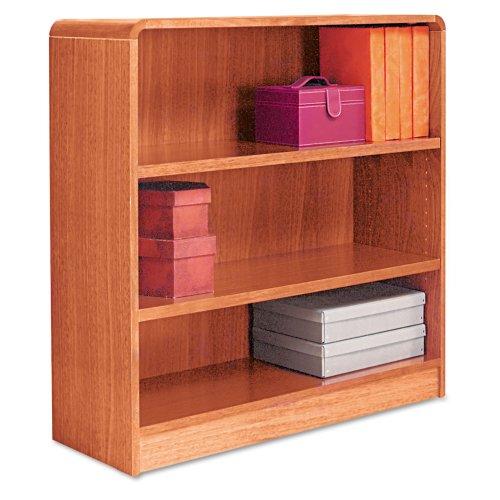 Alera Radius Corner Bookcase, Finished Back, Wood Veneer, 3-Shelf, 36 W by 12 D by 36 H, Medium -