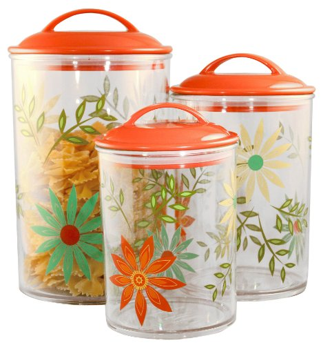 Corelle Coordinates by Reston Lloyd Acrylic Storage Canisters, Set of 3, Happy Days