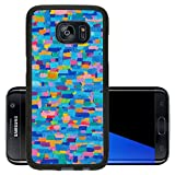 Luxlady Premium Samsung Galaxy S7 Edge Aluminum Backplate Bumper Snap Case IMAGE ID: 20479325 Blue Land 2013 Texture background and Colorful Image of an original Abstract Painting on Canva