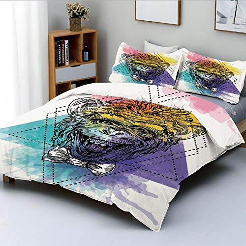 Duplex Print Duvet Cover Set Queen Size,Funny Monkey Animal with a Bowtie on Geometric Artistic Watercolor Style Backdrop DecorativeDecorative 3 Piece Bedding Set with 2 Pillow Sham,Multicolor,Best Gi
