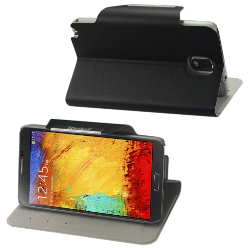 Reiko Fc03-samnote3bk Aimant Flip Cuir Lisse Coque pour Samsung Galaxy Note 3–Noir