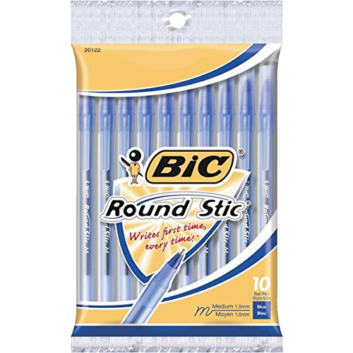 Bic Round Stic Xtra Life Medium Ballpoint Pen, Blue Ink 10 ea