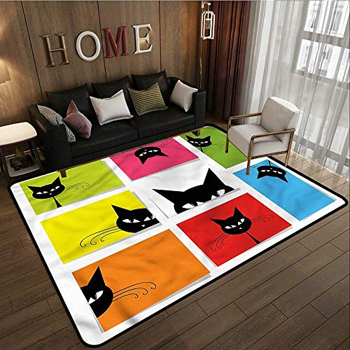 Rectangular Rug Funny Cat Faces Different Angles Children Crawling Bedroom Rug 5'6