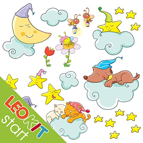 LeoStickers®- LeoKit De Beaux Rêves: 22 adhésifs professionnels pour la chambre du bébé. La Lune, étoiles, nuages, chats endormies, chien, petit hamster ... Transformez la chambre de votre enfant dans