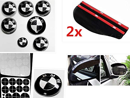 BLACK and WHITE Carbon Fiber Sticker Overlay Vinyl for All BMW Emblems Caps Logos Roundels (Silver Bmw 5 Series With Black Rims)