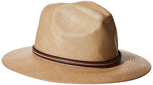 Scala Leather Safari Hat - SCALA Men's Panama Safari with Leather Band, Putty, Large