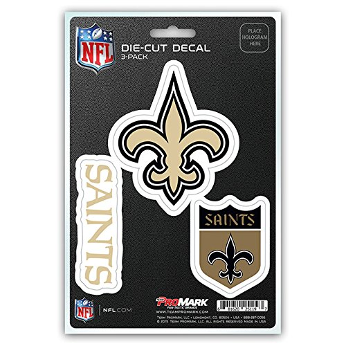 NFL New Orleans Saints Team Decal, 3-Pack
