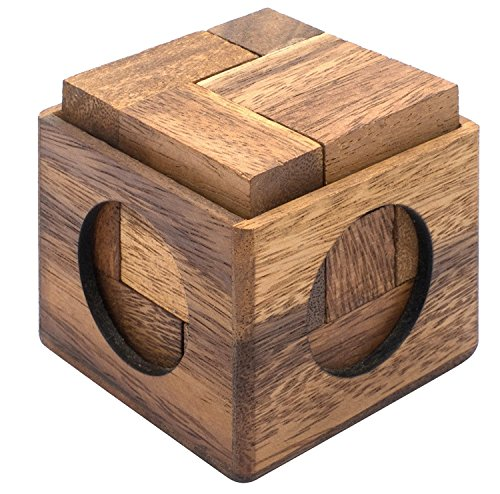 Cube Puzzle: Wooden Puzzle for Adults a Handmade 3D Brain Teaser Soma Cube from SiamMandalay 3d Cube Puzzle