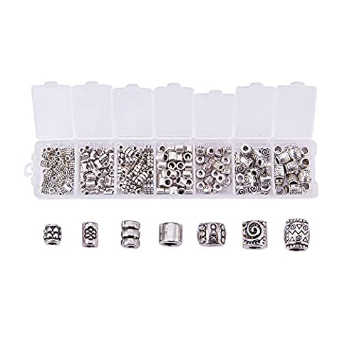 Beadthoven 1Box 260pcs/box Tibetan Style Alloy Bead Spacers Large Hole, Mixed Style, Column, Antique (Beads Large Assortment)