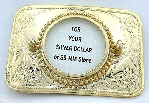 Silver Dollar 39mm Cabochon Cab Floral Flower Goldplated Belt Buckle Mounting CF586