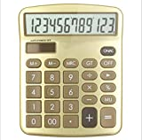 CalculatorDesktop Desktop Computer Solar Dual Power Supply  Plastic Button  12 Digits Large Screen Display Automatic Shut-Down (Yellow 123)