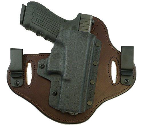 Hidden Hybrid Holsters, FNH FNX-45 - Black Kydex/ Brown Leather- RH Draw
