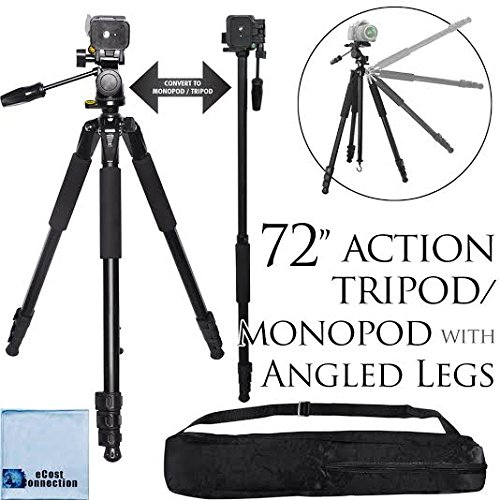 72-Inch Elite Series Professional Heavy Duty Convertible Camera Tripod/Monopod For Nikon D7200, D810, D300, D300S, D3000, D3100, D3200, D3300, D5000, D5100, D5200, D5300, D5500, D610, D600, D70, D700, D7000, D7100, D800, D800E, D90, DF, 1 J1, 1 V1 & More… + Microfiber Cloth