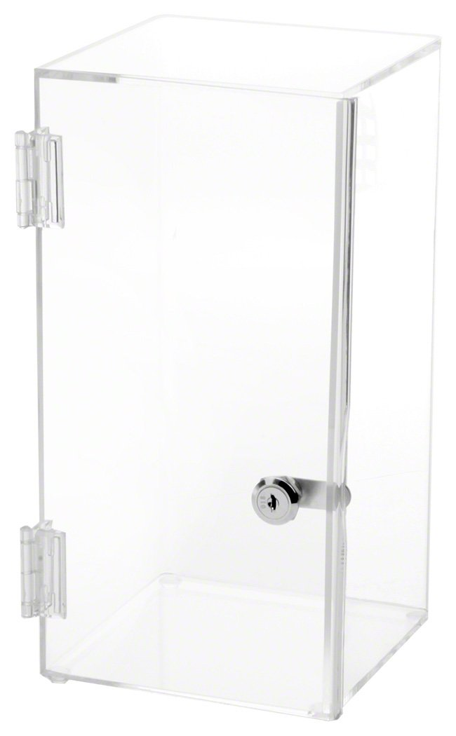 Plymor Brand Front Opening Square Locking Clear Acrylic Display Case, No Shelf, 16'' H x 8'' W x 8'' D