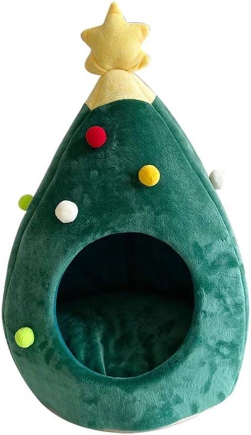 KEDUODUO 2021 del Gato del Perro Año Nuevo Alquiler Forma casa del árbol de Navidad Cama Admite Cueva del Gato Carpa de Basura Suministros Mascotas Jaula para Gatos,S:40 * 40 * 48cm