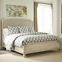Ashley Demarlos Upholstered King Panel Bed in Parchment