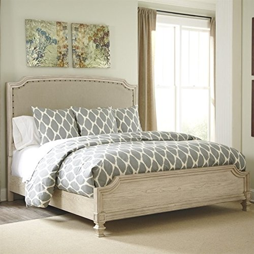 Ashley Demarlos Upholstered King Panel Bed in Parchment by Ashley Furniture