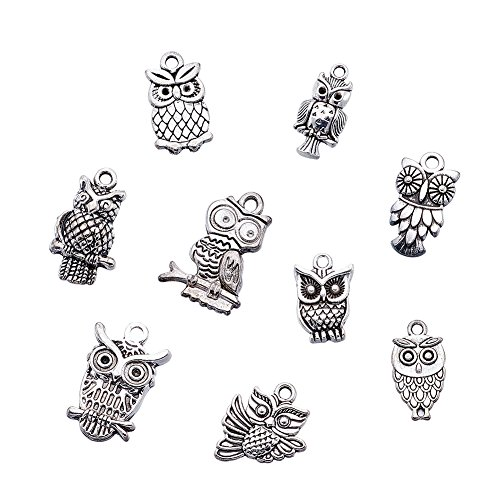 """Kissitty 50-Piece Mixed Style Tibetan Antique Silver Owl Charms 0.63~1.18"""" for DIY Jewelry Making from Kissitty"""