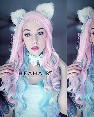 [Heahair Purple Hair Synthetic Lace Front Wigs (Rainbow)] (Chibi Halloween Costume)