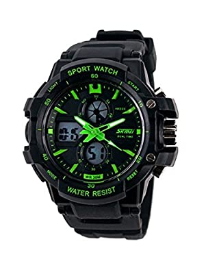 Aposon Mens Outdoor Military Dual Time Digital Analog Quartz Waterproof Wrist Sport Watch with LED Display, 98ft 30M Water Resistant, Multifunctional, Back Light, Alarm, Military 24H Time - Green